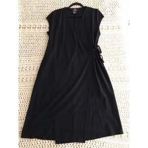 Sleek Black Cotton Wrap Dress